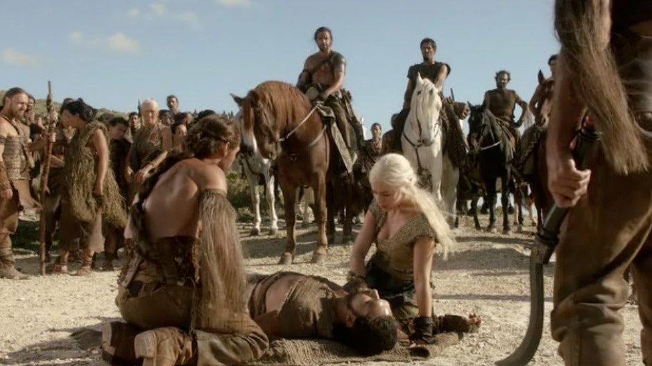 Image result for drogo falls from his horse