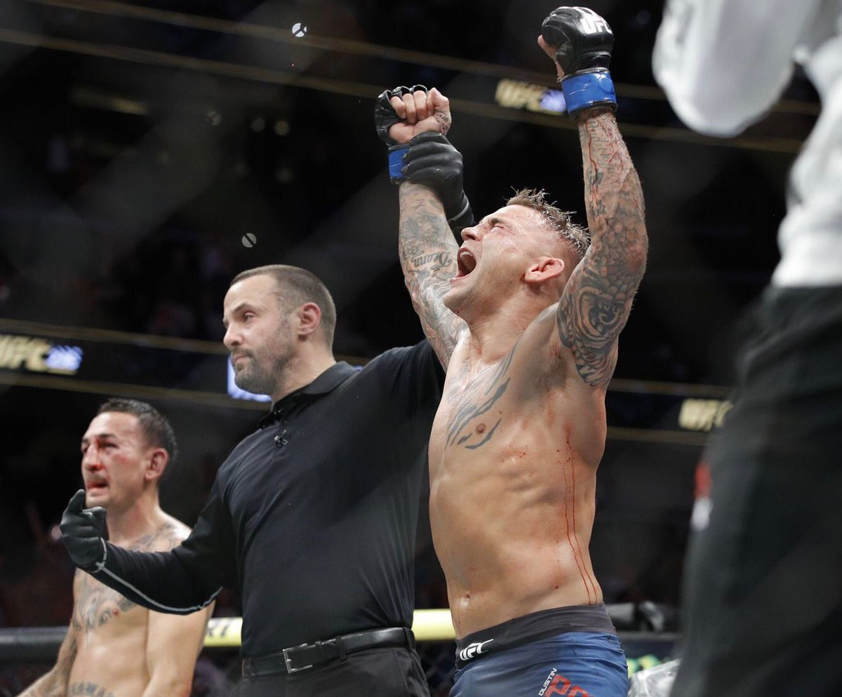 Congratulations to the new champ @DustinPoirier. Real gratifying seeing you overcome adversity and accomplishing your goal. Wish I could have been there to see it. #epicfight #ufclightweightchampion