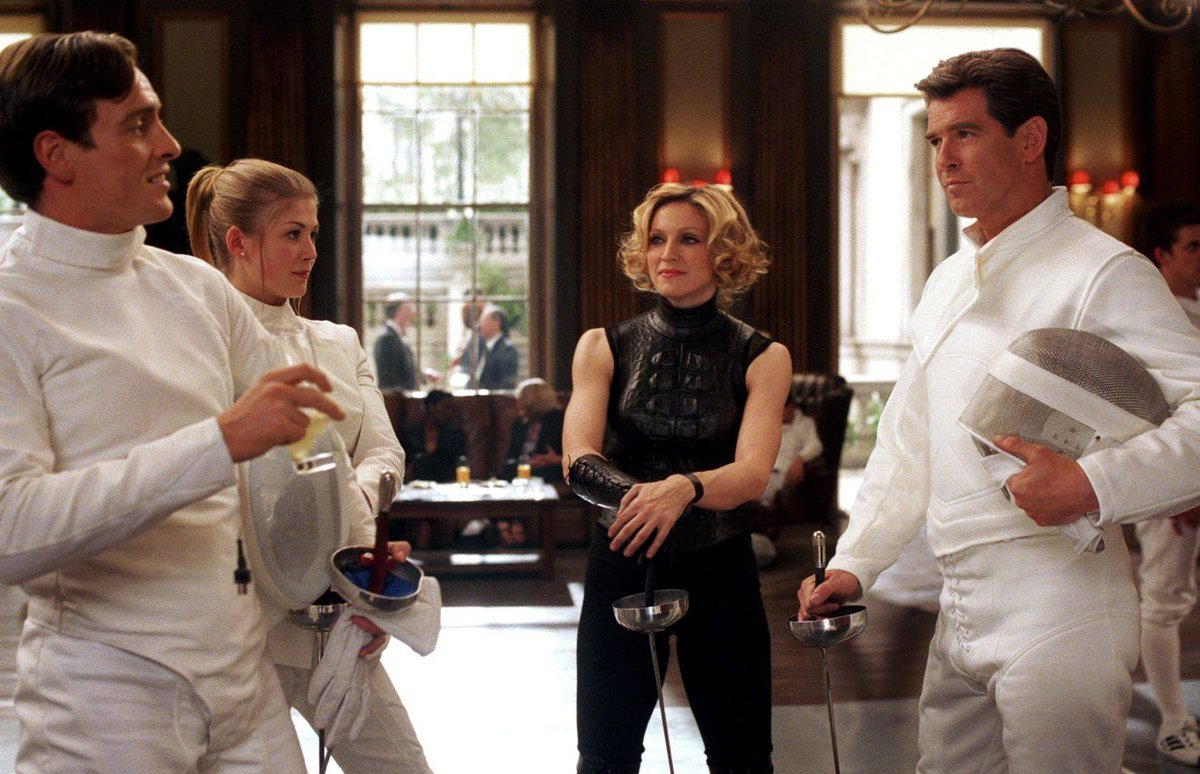 Toby Stephens, Rosamund Pike, Madonna and Pierce Brosnan in Die Another Day (2002). <br>http://pic.twitter.com/9nF3hD8bgo