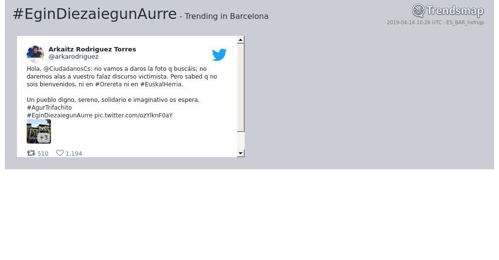 #egindiezaiegunaurre es ahora una tendencia en #Barcelona  https://www.trendsmap.com/r/ES_BAR_hxfnqp