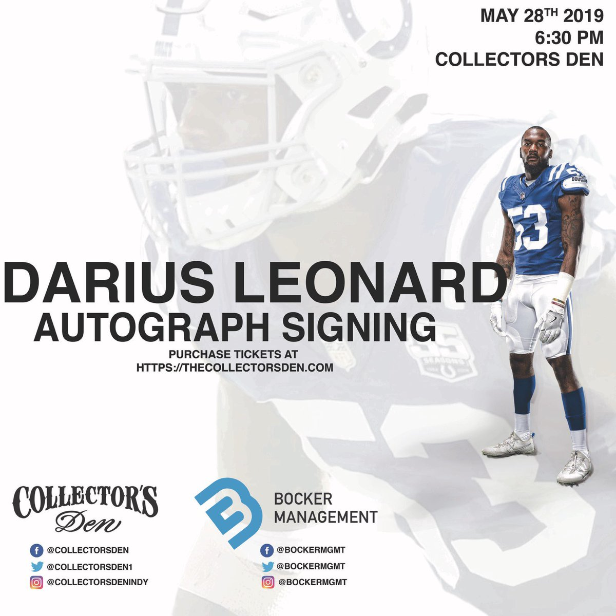 Hey #Colts fans! Im signing autographs May 28th at 6:30 in @CollectorsDen1. Get your tickets at thecollectorsden.com & Ill see you downtown! @bockermgmt