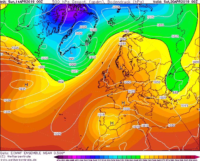 Con la actual salida principal del modelo ECMWF los días festivos en el Mediterráneo pueden estar pasados por agua. La media de todas las variables va por un camino similar. DANA al sur peninsular, altas presiones al norte . Pasillo de Levante de libro.
