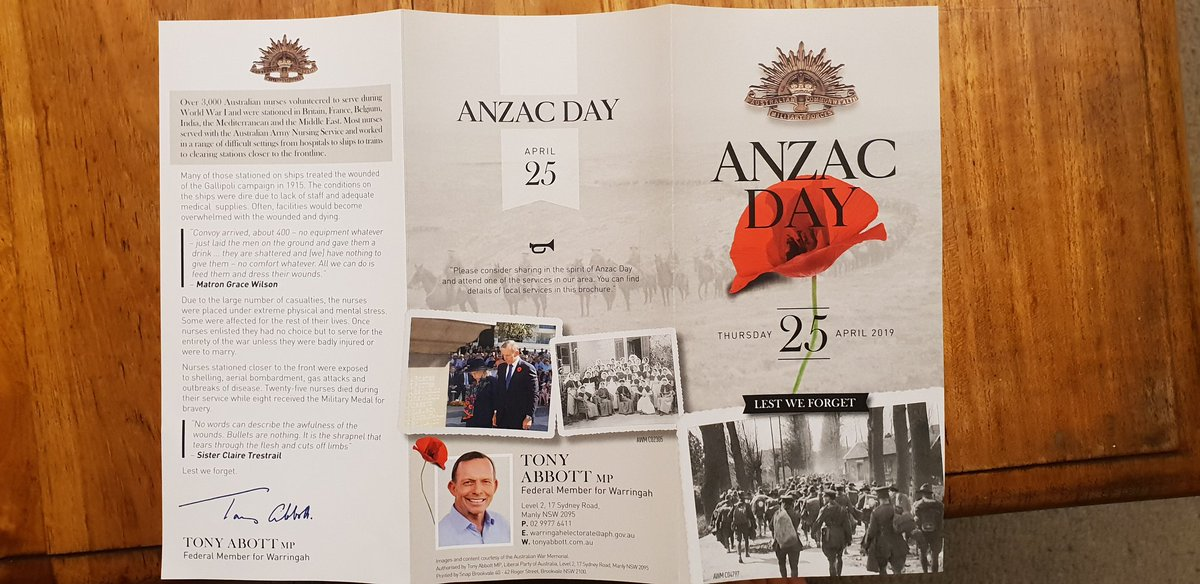 So Tony&#39;s latest political flyer is an ANZAC Day brochure... I&#39;m not sure how I feel about this. <br>http://pic.twitter.com/u0I0Sg5Gjn