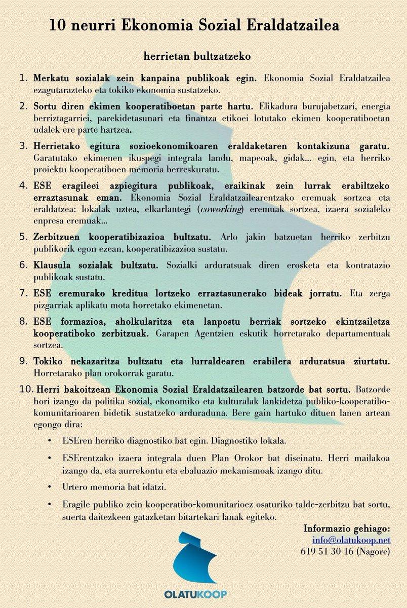 Ekonomia Sozial Eraldatzailea herrietan bultzatzeko proposamena (10 neurri) http://olatukoop.net/2015/06/ekonomia-sozial-eraldatzailea-herrietan-bultzatzeko-proposamena/…