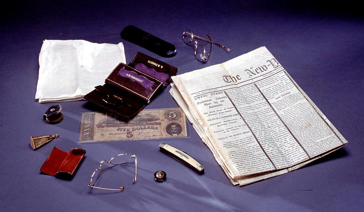 Do you know what was in Abraham Lincoln's pockets the night he was shot, April 14, 1865? We have these artifacts here at the Library of Congress. Learn more: https://blogs.loc.gov/loc/2017/04/what-was-in-abraham-lincolns-pockets-on-april-14-1865/?loclr=twloc…
