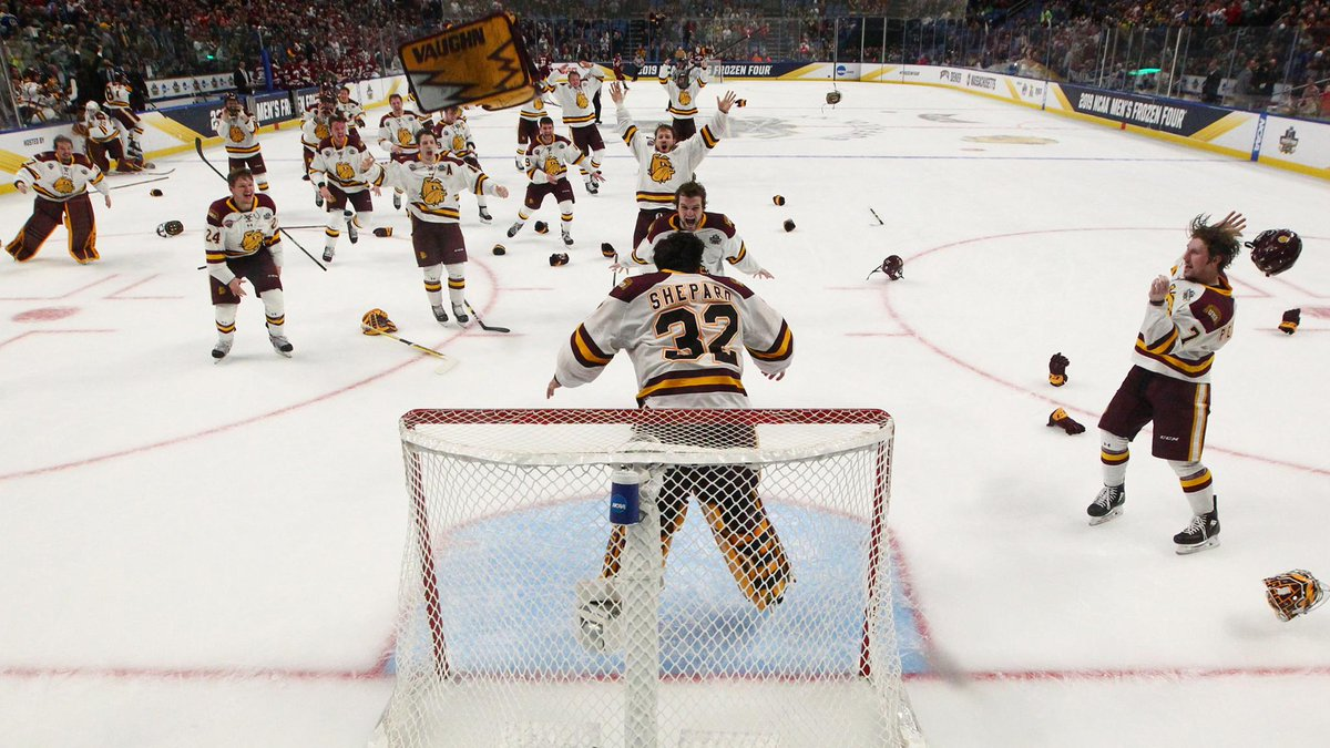 Minnesota Duluth is the first program to repeat as national champions since Denver won back-to-back titles in 2004 and 2005.  Recap last night's #FrozenFour championship: http://bufsabres.co/g3PAKd