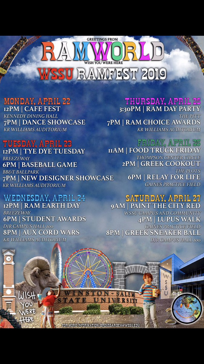 MY #RamFest2019 SCHEDULE  MONDAY: #CAFEFEST 12-2PM  TUESDAY: #TYEDYETUESDAY 12PM-2PM  WEDNESDAY: #RAMEARTHDAY 12PM-2PM  THURSDAY: #RAMDAYPARTY FOLLOWED BY #RAMCHOICEAWARDS