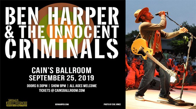 Get ready for Ben Harper & The Innocent Criminals, live at @CainsBallroom  on 9/25. Tickets on sale now. Get yours before their gone! http://edgetulsa.com/concerts-and-events/ben-harper-9-25/ …
