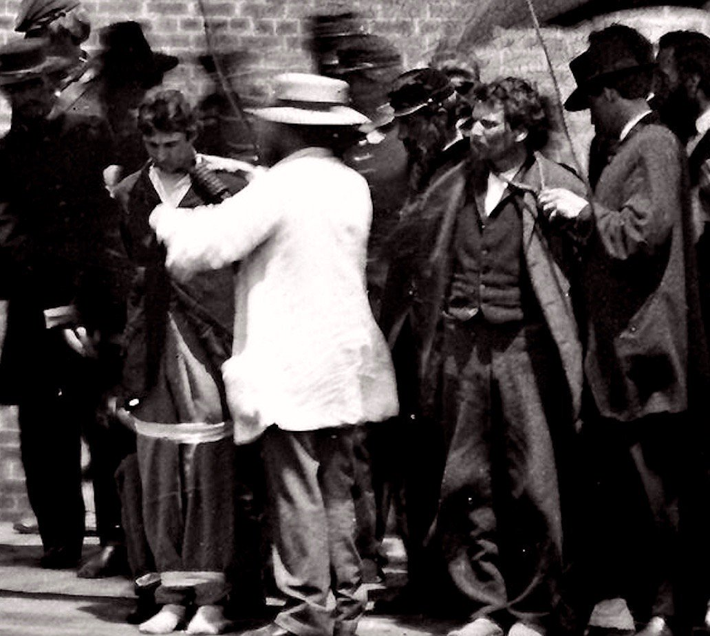 Abraham Lincoln assassination conspirators being prepared for hanging, July 1865: