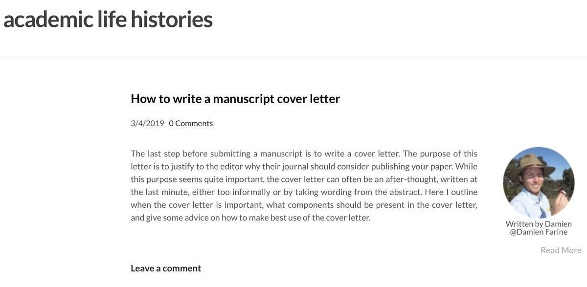 Submitting a manuscript? Don't forget to write a proper cover letter as this is the first thing the editor will see! Here's my guide to writing the cover letter: http://academiclifehistories.weebly.com/blog/how-to-write-a-manuscript-cover-letter… #academiclifehistories