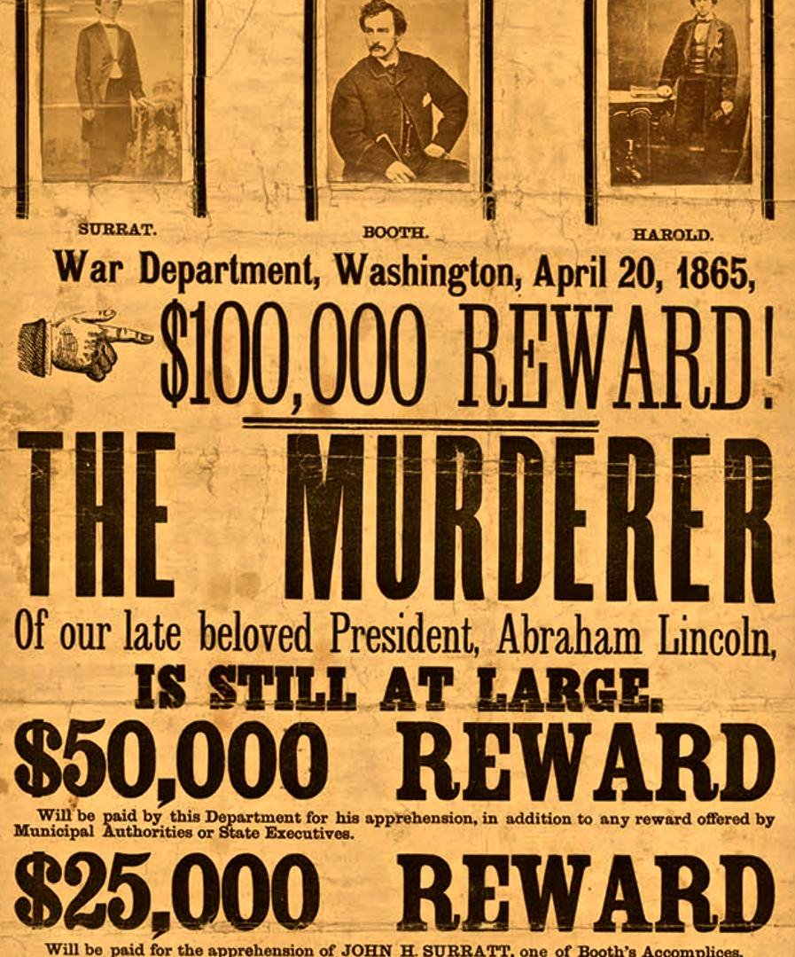 Wanted poster after Lincoln's assassination: