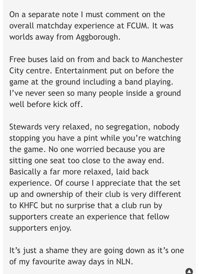 Some decent comments by a Kidderminster fan (on their forum) after yesterday's match. We might be struggling on the pitch but @FCUnitedMcr continue to do alright off it.