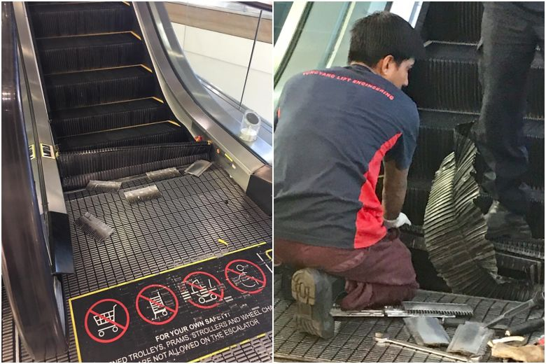 Shoppers shocked as lower steps of moving escalator collapse at Tampines mall https://t.co/YBXLUcDPGo https://t.co/8uGxysEFS6