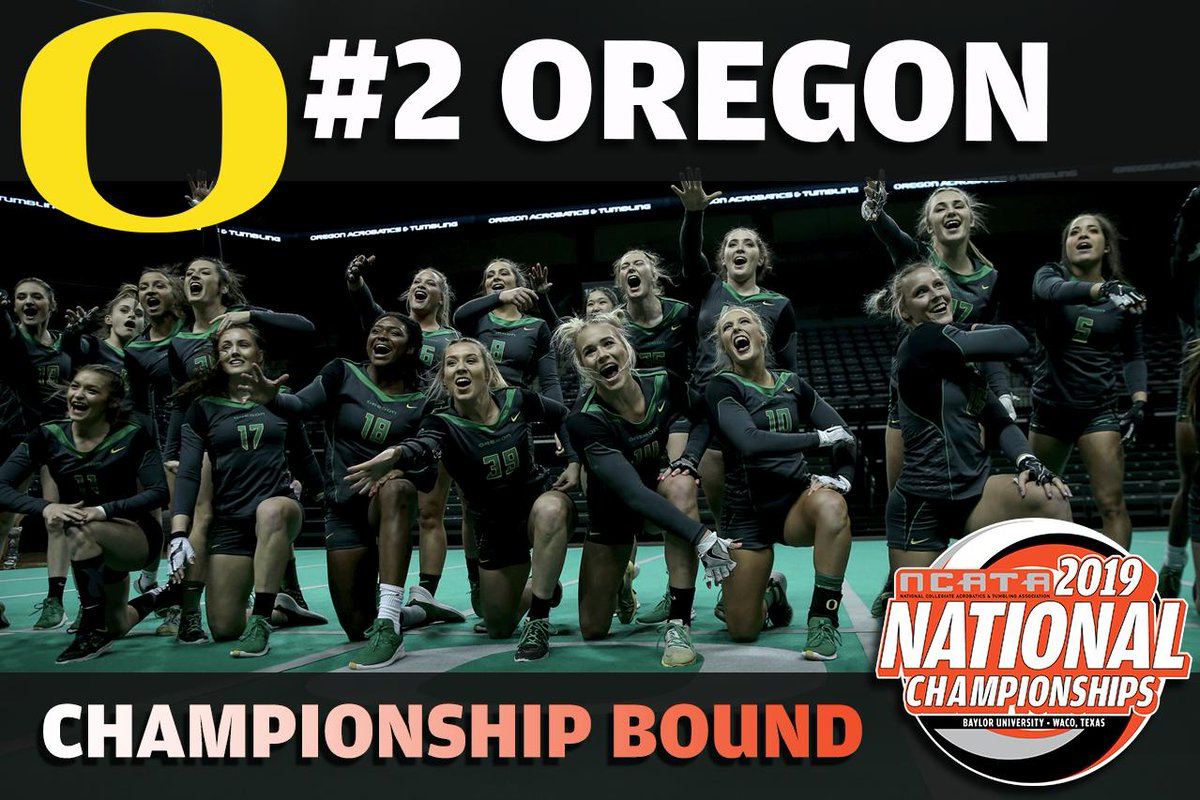 Earning the No. 2 seed in the NCATA National Championship Tournament, the University of Oregon! The Ducks will meet seventh-seeded Hawaii Pacific in the quarterfinals on Thursday, April 25 at 2 p.m. (CT) #ncata19 @OregonAcroTumb