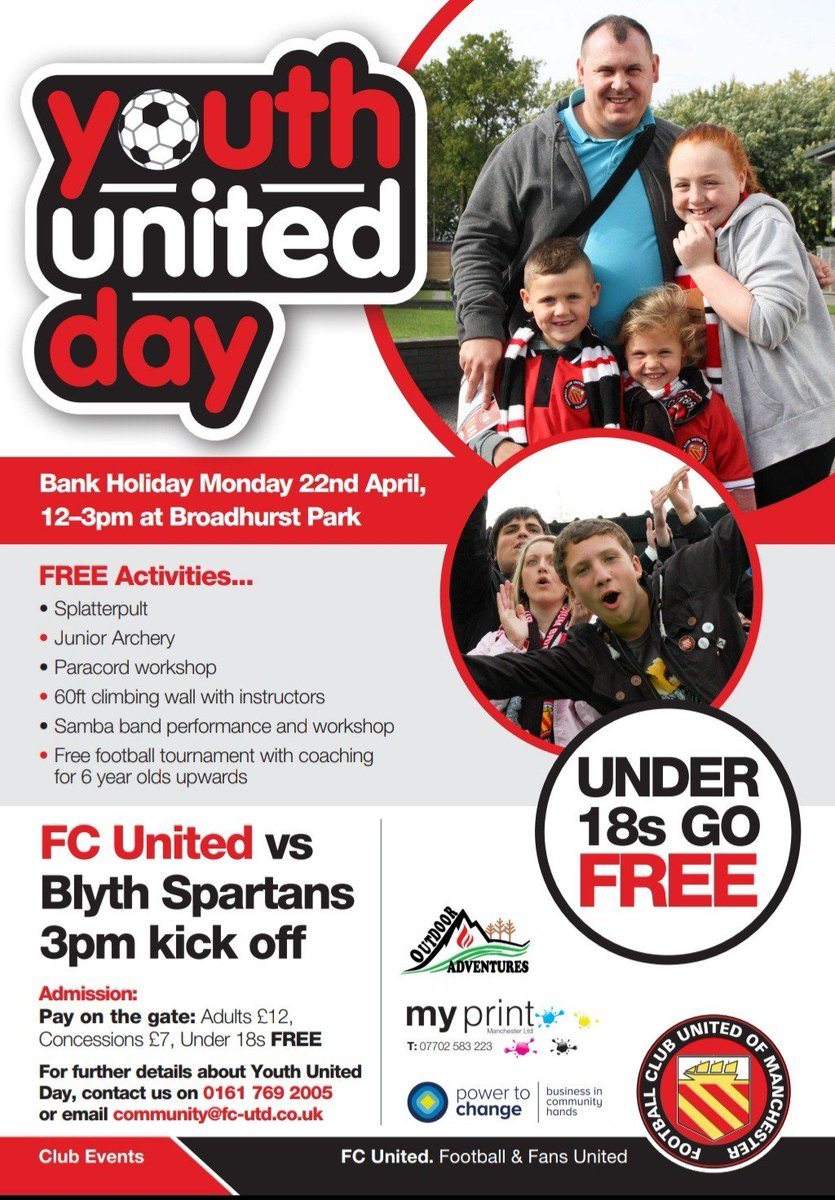 This is just over a week away now!!  Spend a family day on Easter Monday at our annual FC Youth United Day!  FC United v Blyth Spartans k.o.3.00 pm  Under 18s FREE!!!  FREE youth activities for all!!