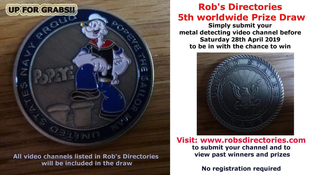 Visit:   http://www. robsdirectories.com  &nbsp;   to submit your MD video channel #PrizeDraw #RobsDirectories #MetalDetecting<br>http://pic.twitter.com/UVcuMLLFLY