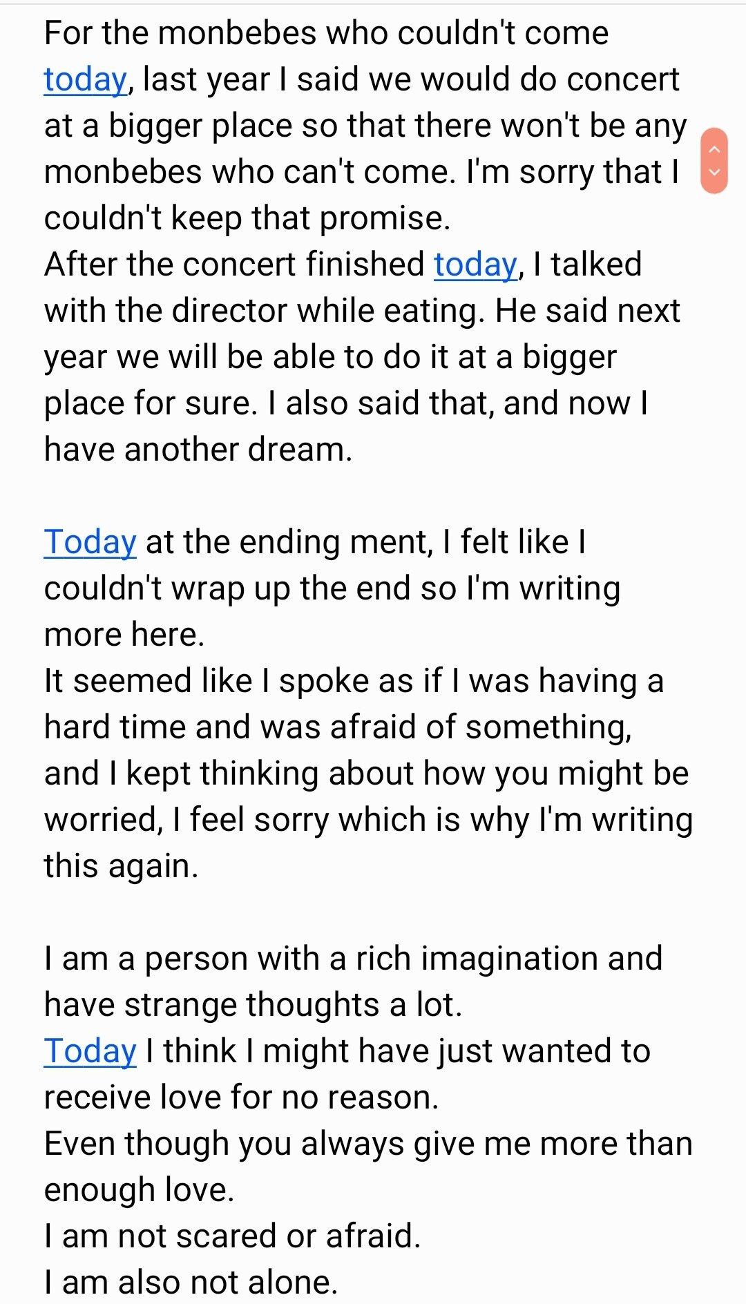 [TRANS] Wonho's letter on 'FROM. MONSTA X' https://t.co/QWnXoGn81n