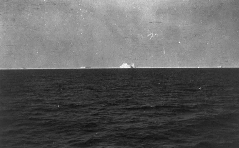 Iceberg in area of Titanic sinking, photographed from rescue ship Carpathia: