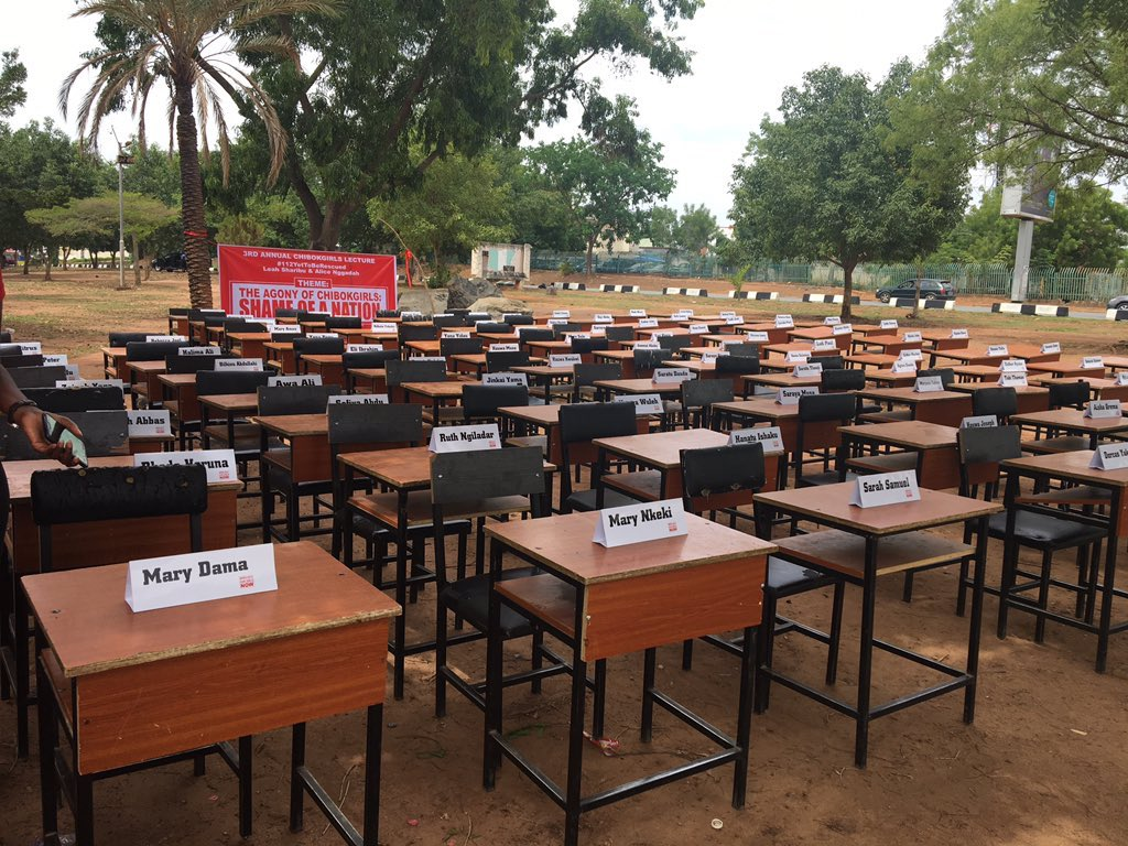 Today @ the Unity Fountain we arranged 112 empty seats & desks of of our remaining 112  #ChibokGirls and Leah Sharibu our #DapchiGirl with their names.   No serious country and government can simply move on without closure on a tragedy of this scale.  Just look at the emptiness.
