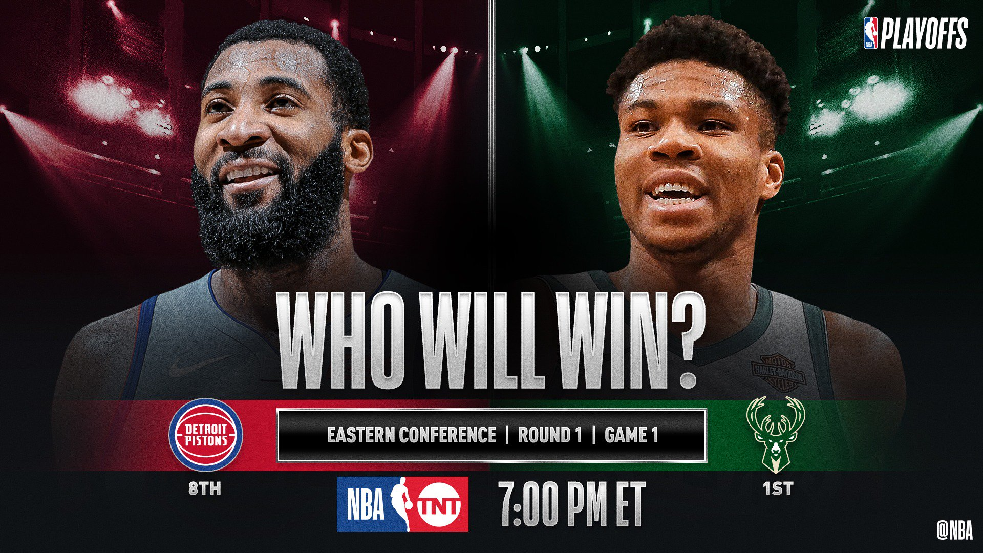 �� No. 8 in the East @DetroitPistons visit No. 1 @Bucks at 7pm/et for Game 1 (@NBAonTNT)! #NBAPlayoffs �� https://t.co/GfCDQ7JdFn