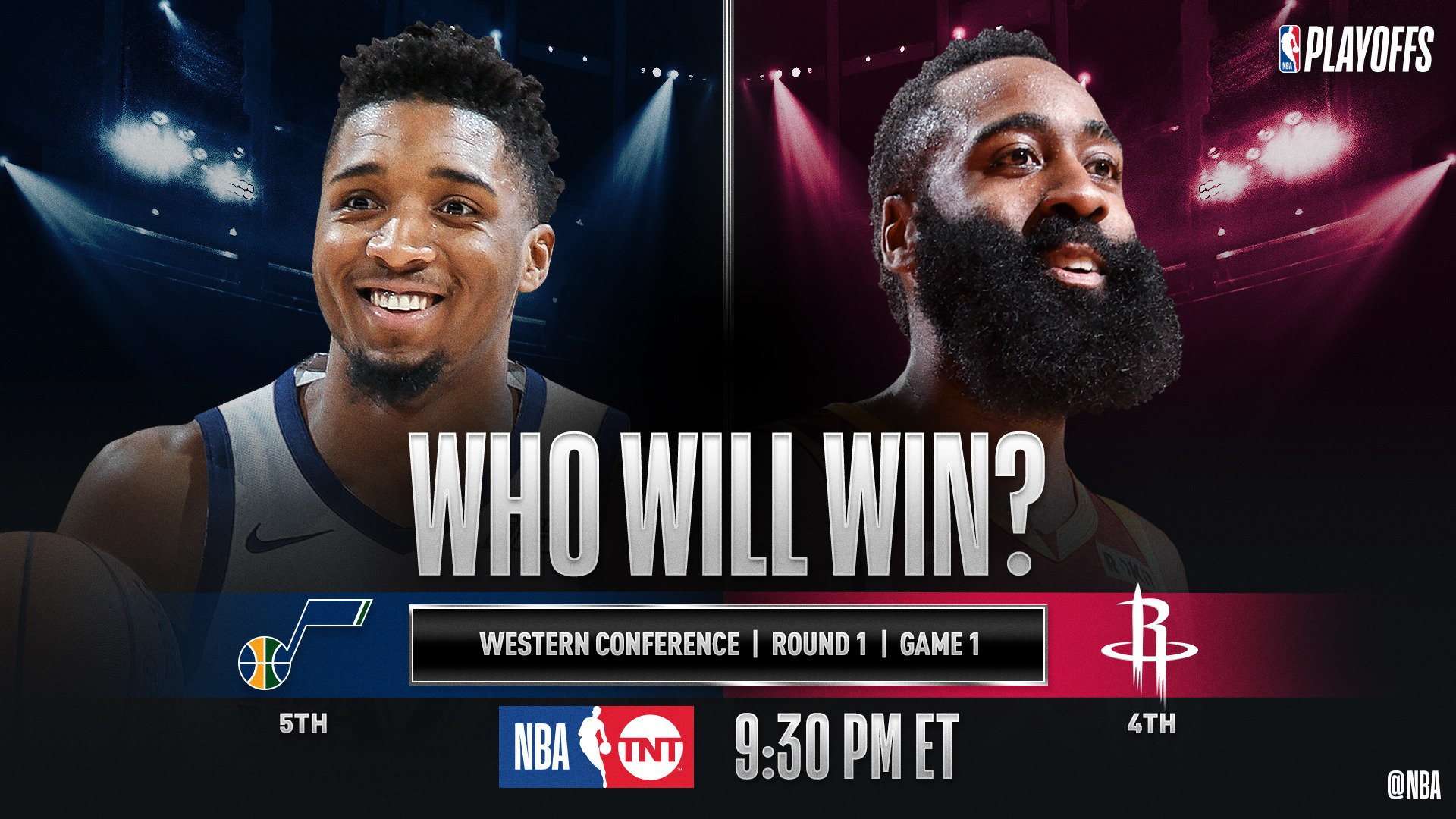 �� No. 5 in the West @utahjazz visit No. 4 @HoustonRockets at 9:30pm/et for Game 1 (@NBAonTNT)! #NBAPlayoffs �� https://t.co/ini7CgFFrH