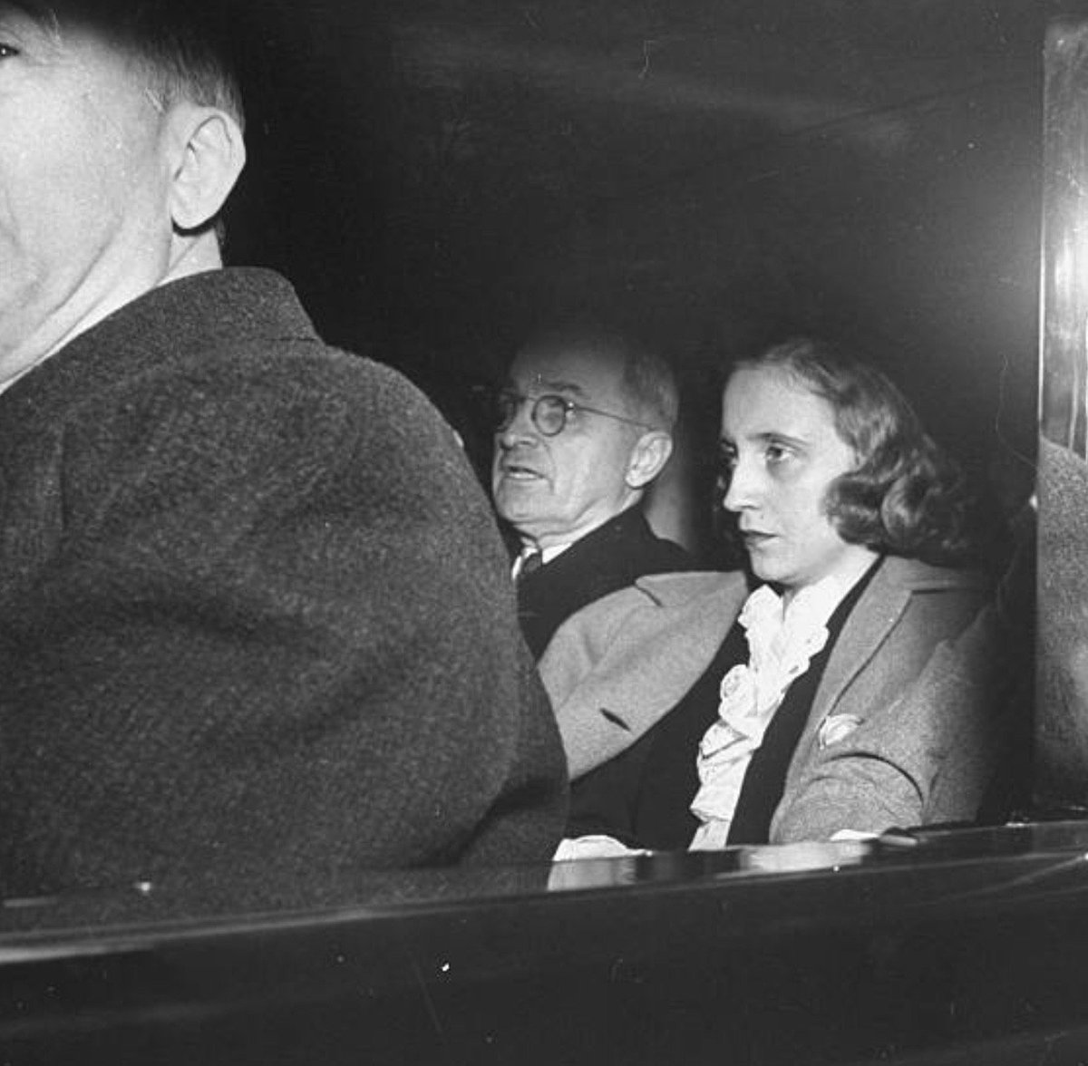 President Truman and daughter Margaret riding to FDR funeral at White House, today 1945:     #McAvoy