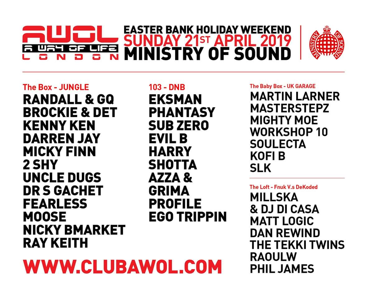 b171a4302cbb AWOL Easter Sunday 21st April at Ministry of Sound Limited 4th release  tickets http   bit.ly 2Ullrjc or http   clubawol.com pic.twitter .com V8GXvdnGhi