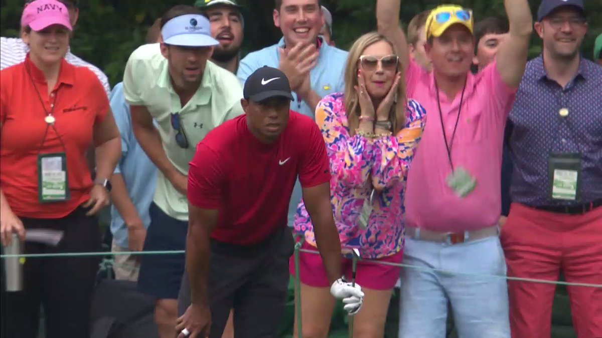 Michael Phelps is enjoying Tiger's final round at the Masters.