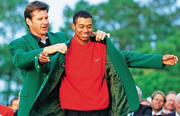 Tiger Woods wins Masters for the first time, 1997, as youngest winner ever at age 21:        #Hershorn