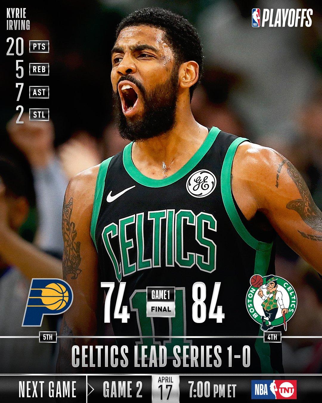 The @celtics win Game 1 in Boston!  Game 2: Wednesday (4/17), 7pm/et, TNT  #NBAPlayoffs https://t.co/ViNQj0zRQO