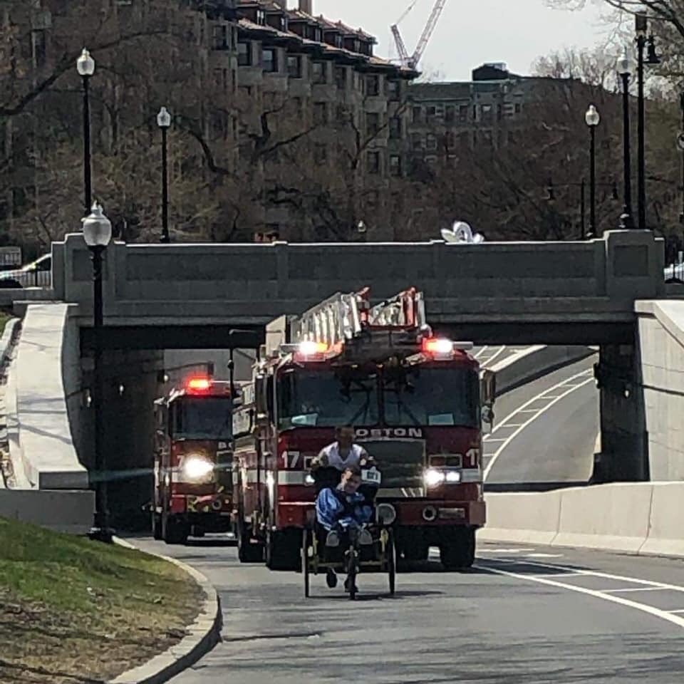 Congratulations to running team of Matt Brown & Lucas Carr on completing 123rd Boston Marathon today.(Weather forced them to run a day early). This after running in @BAA 5K yesterday.   Representing @MAFallenHeroes  the team was met by Lucas's firehouse; E-7 & L-17 Well Done!<br>http://pic.twitter.com/XlK0Cz9YDq