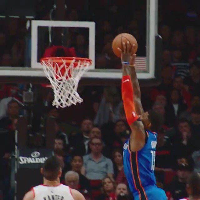 Westbrook sets up Paul George for the jam in #PhantomCam! #NBAPlayoffs  #ThunderUp 69 #RipCity 76  ��: #NBAonABC https://t.co/jcKQfEWSRJ