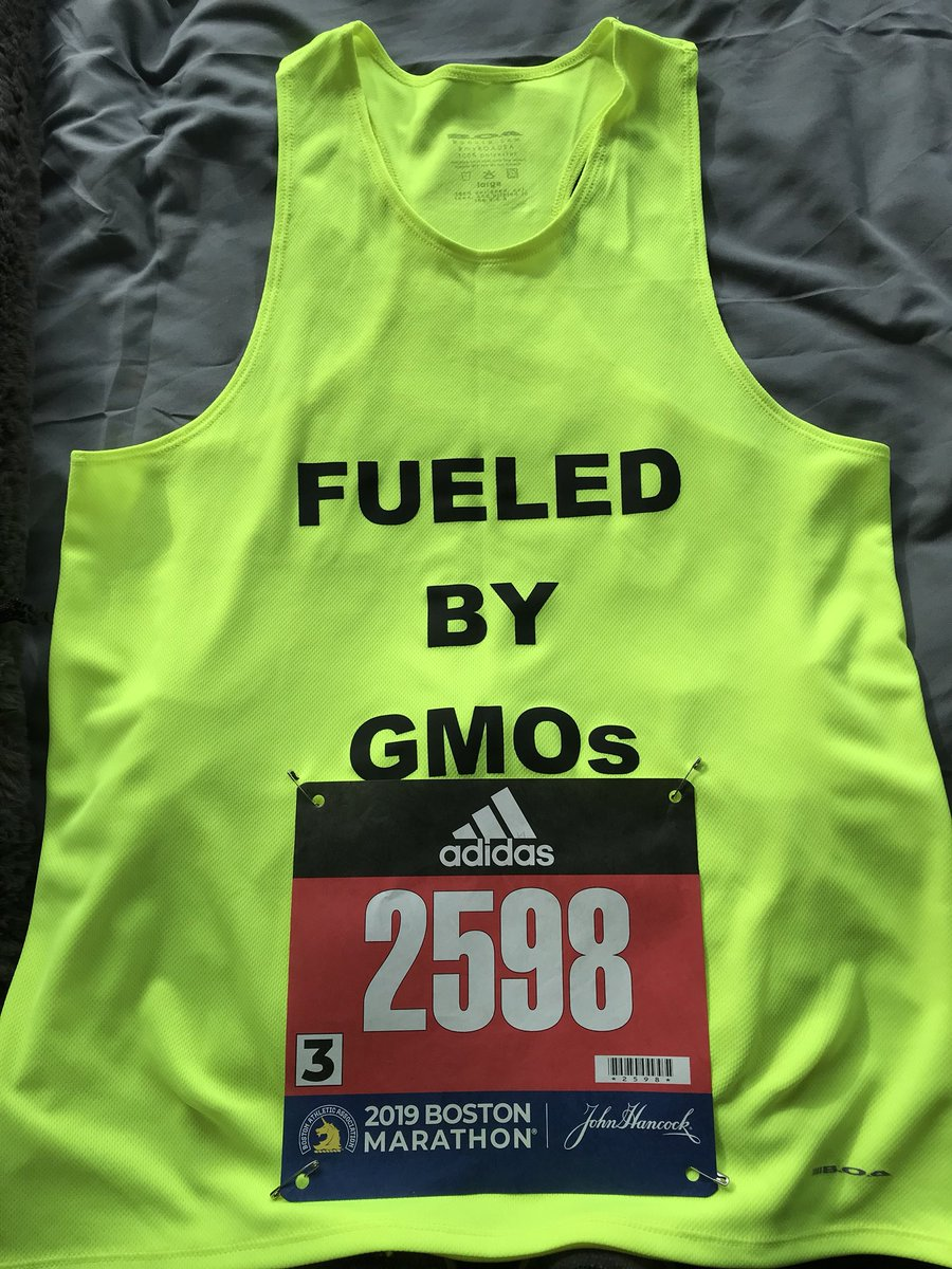 Preparing to run tomorrow morning in the 123rd Boston Marathon. Made a few adjustments to the racing jersey for this year. Tip of the hat to all of you that provide our food, feed, fiber, and fuel! #123rdBostonMarathon #Boston #BostonMarathon2019 #FueledByGMOs<br>http://pic.twitter.com/EiwJ07WLBj