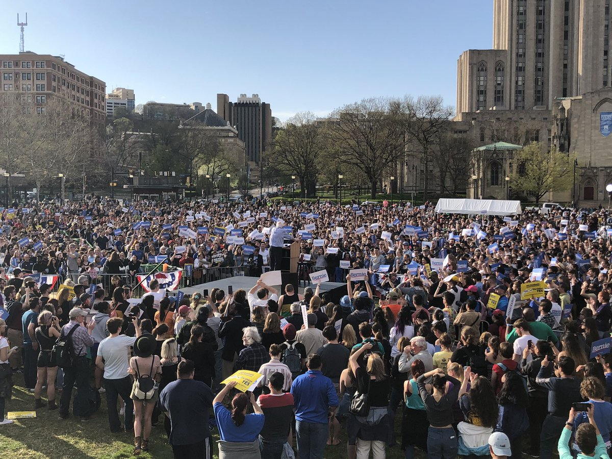 It was supposed to be raining and people weren't going to come out for today's rally. But the sun is out and so are the people of Pittsburgh for @BernieSanders