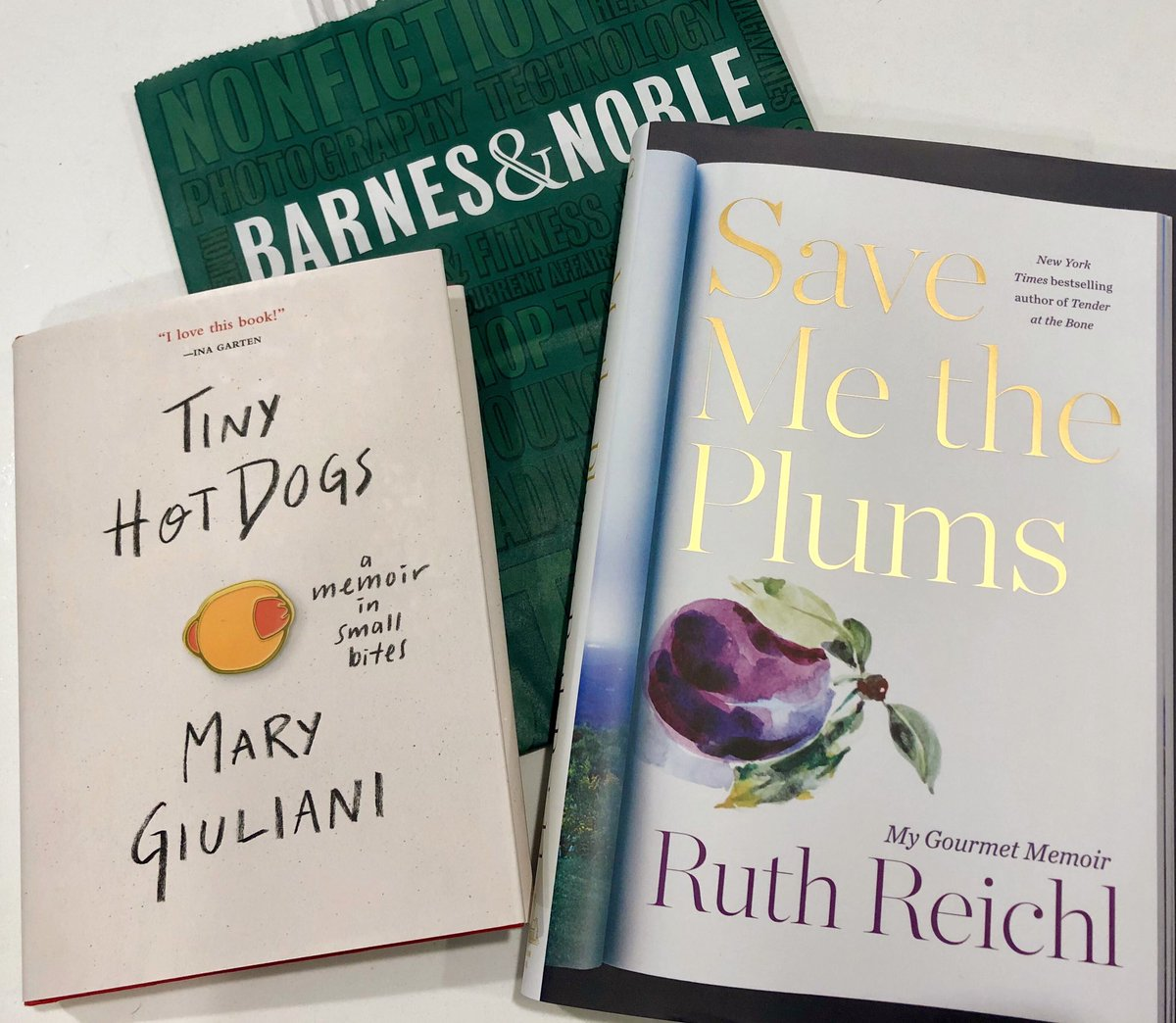 Can't wait to read these two new books!! @ruthreichl @MaryGiuliani @BNBuzz