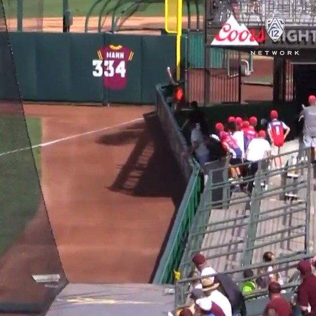 ...HOW?!  @BeaverBaseball's Tyler Malone makes this INCREDIBLE running + flipping catch over the wall 😱