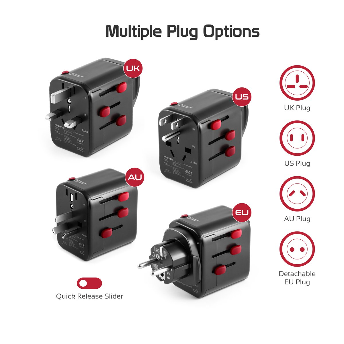 Promate Tripmate-PD18: World's First Grounded Travel Adapter with Resettable fuse & 30Watt Output.  USB-C QC 3.0 & PD 18Watt • 4 USB Ports • Grounding system • Worldwide Compatibility. 😍🤩✈️🚀🛫🏩  #Promate #Power_Delivery #travel #Chargers #adapter https://t.co/uDT4JP2BRD