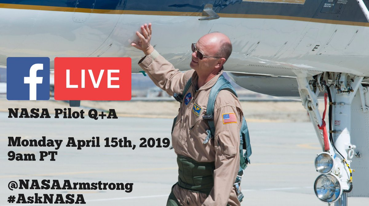 ‼️Tomorrow, join David Nils Larson, the chief test pilot @NASAArmstrong as he talks about his career as a pilot & work life @NASA 💫 🤔Have a question for him? Drop it down below using #askNASA Facebook Live Q+A: Facebook.com/NASAArmstrong