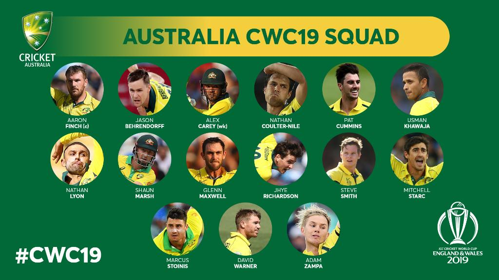 Image result for AUSTRALIA SQUAD icc world cup 2019