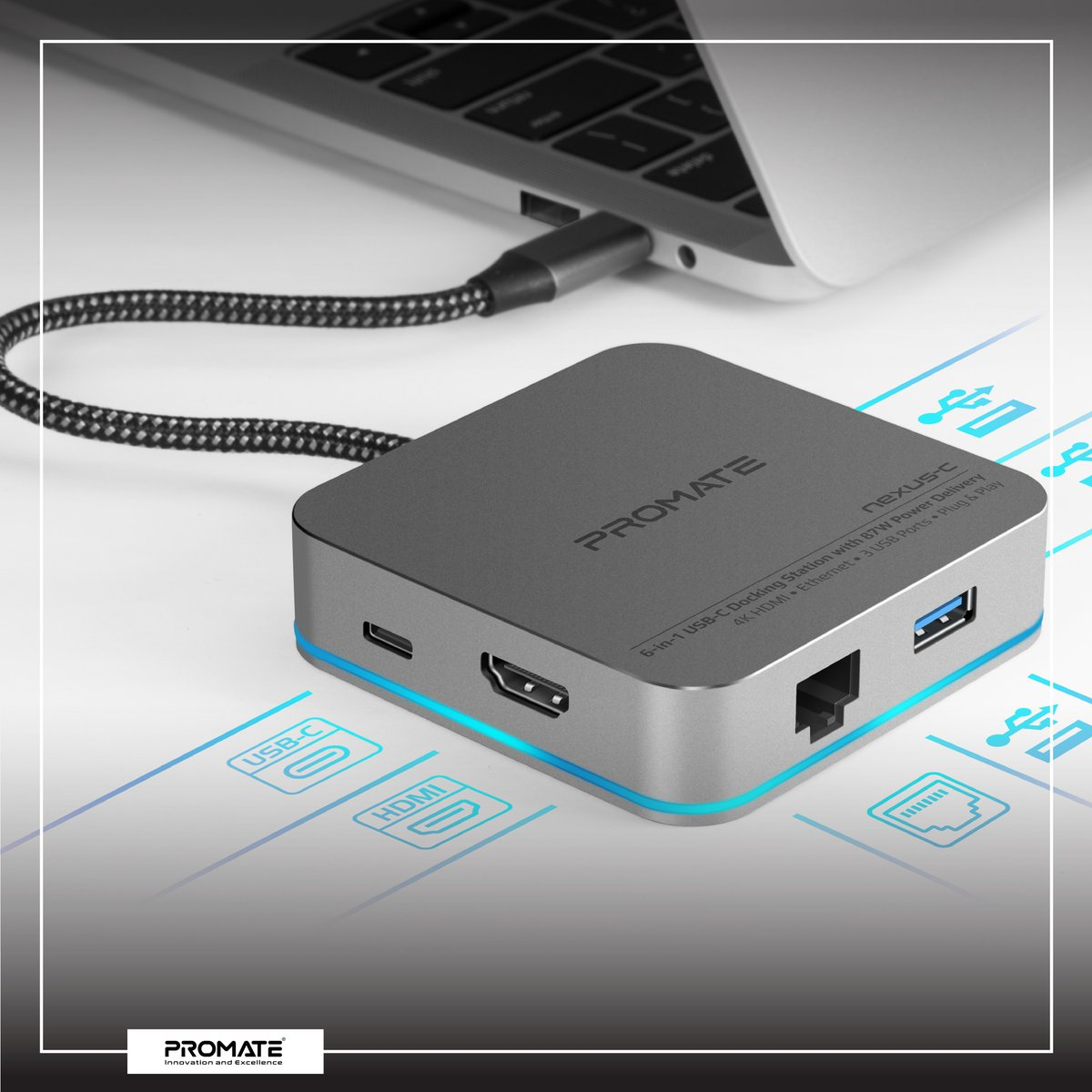 Promate Nexus-C: 6-in-1 USB-C Docking Station with 87W Power Delivery • 4K HDMI • Ethernet • 3 USB Ports • Plug & Play.   #Promate #Power_Delivery #MacBook #USBC #USB_Hub #laptop #iPadPro https://t.co/3U8c9hHWlK