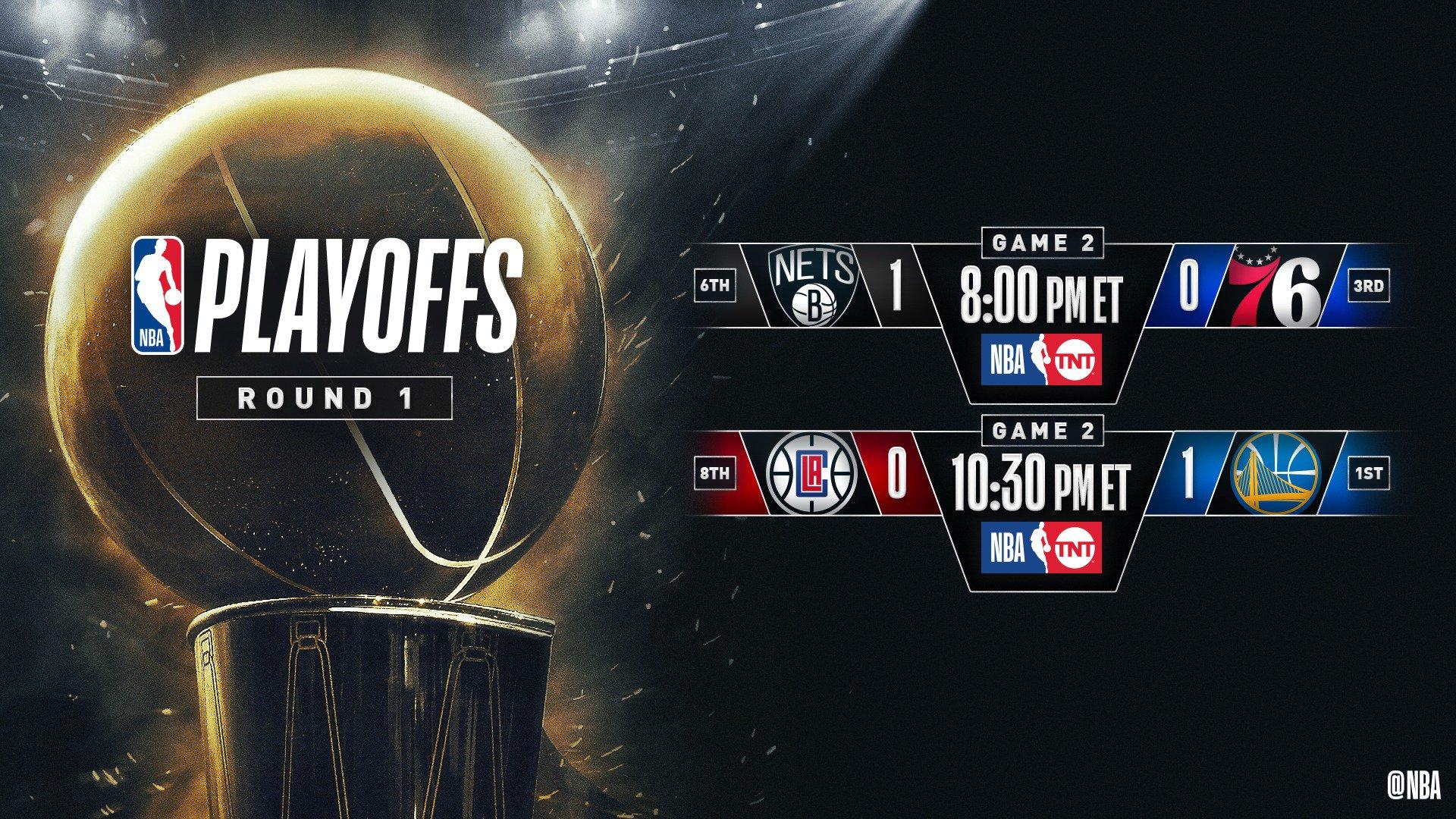 �� #NBAPlayoffs DAY THREE ��  8pm/et: (6) BKN 1-0 (3) PHI, TNT 10:30pm/et: (8) LAC 0-1 (1) GSW, TNT https://t.co/m5Ftwyg8gN