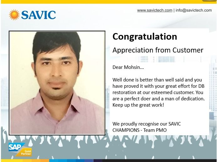 Give thanks for a little and you will find a lot. #Congratulation #Mohsin    #DigitalCore #SAP #ERP #SAPpartner  #SAVIC<br>http://pic.twitter.com/7wV9qk4fbI
