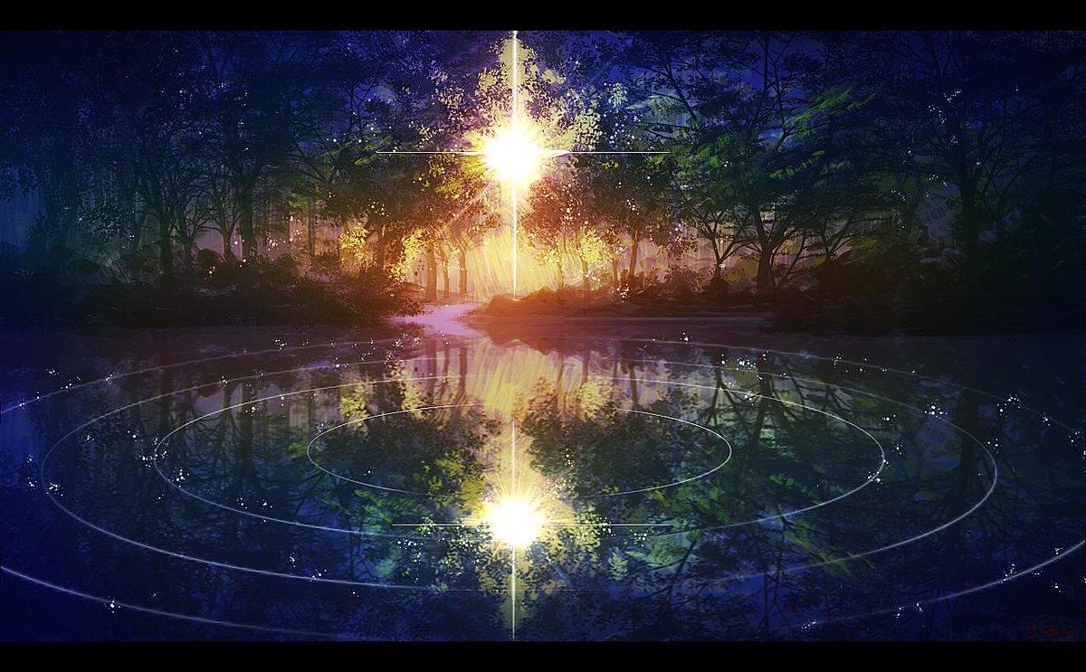 「森の波紋」綺麗な森の世界観を描いてみました✨