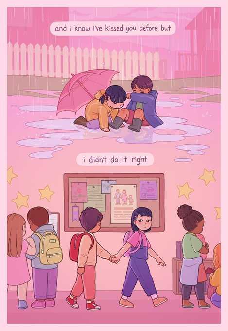 lyric comic to pink in the night, by mitski. page 1: and i know i've kissed you before, but i didn't do it right. scene 1: a little boy and girl sitting in the rain. the boy wipes away tears, having tripped and scratched his knee. the girl leans forward to kiss the small wound. scene 2: they're in elementary school, holding hands. the boy looks at a picture depicting a mom, dad, & child.