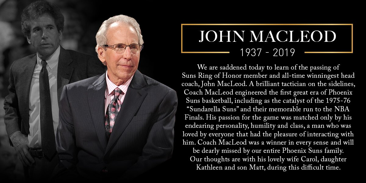 We will miss you, Coach MacLeod.🧡  Our statement on the passing of Ring of Honor member, John MacLeod.