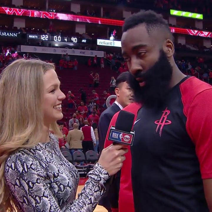 """It's go time.""  James Harden chats with @ALaForce after a big Game 1 win in Houston!  #RunAsOne 