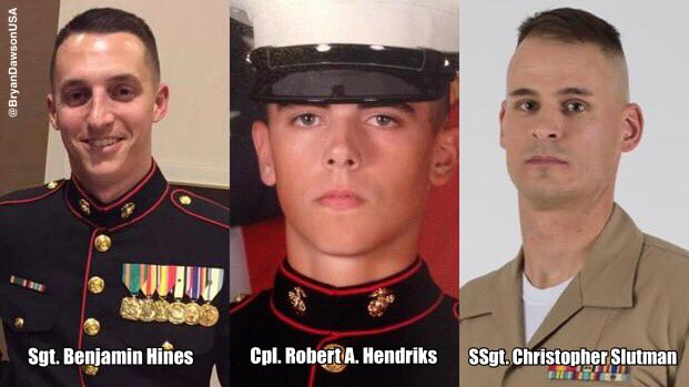 The bodies of three Marines killed in Afghanistan came home last week. Trump has yet to acknowledge their sacrifice.  We must #NeverForget  Sgt. Benjamin Hines Cpl. Robert A. Hendriks Staff Sgt. Christopher Slutman  #SemperFi  https://www. marinecorpstimes.com/news/your-mari ne-corps/2019/04/12/remains-of-3-marines-killed-in-afghanistan-returned-to-us/ &nbsp; … <br>http://pic.twitter.com/Z5dRPph0K1
