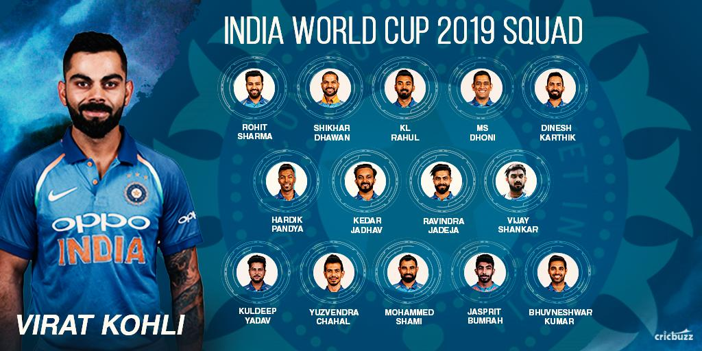 BREAKING: The India squad for #WorldCup2019 is here! #CWC19 https://t.co/dpLIGqq3x9