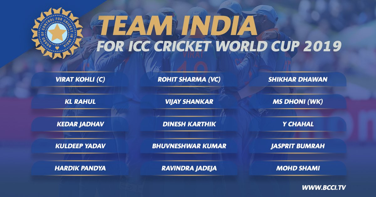 India announces 15 Member World Cup Squad - No place for Pant, Rayudu!