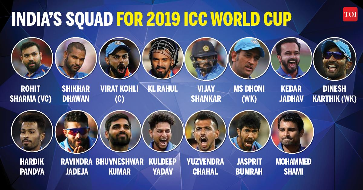 Here's India squad for #WorldCup2019   Follow LIVE updates: https://t.co/w4x8wAq1ci  #CWC19 https://t.co/2VMK6PpH2t